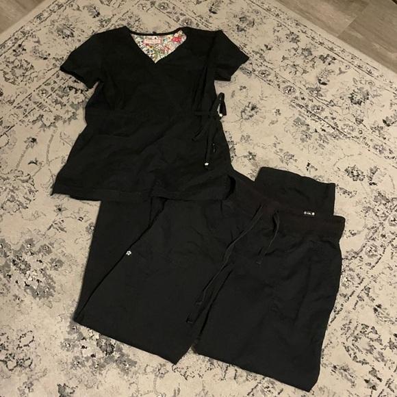 black koi scrub set